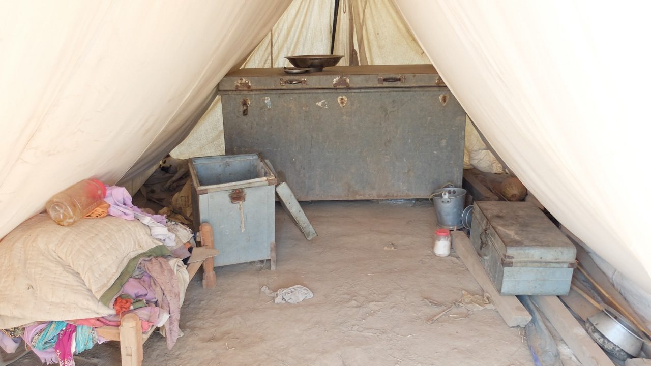 Inside of a government issued tent
